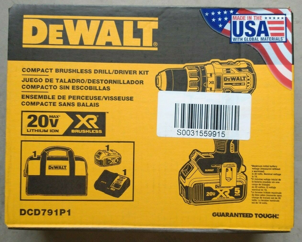 Dewalt DCD791P1 20V MAX XR Brushless 1/2