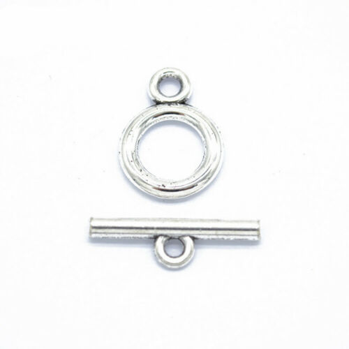 20pcs Tibetan Alloy Ring Toggle Clasps Ancient Silver Tone Free Closure 19x3mm