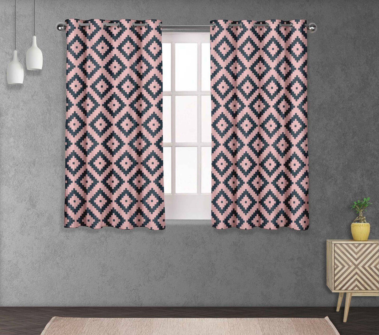 S4sassy Square Printed Eyelet short & long Window Panel Curtains -GMD-515J