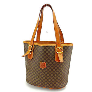 65f1aae27fc Image is loading Celine-Tote-bag-Macadam-Brown-Gold-Woman-Authentic-