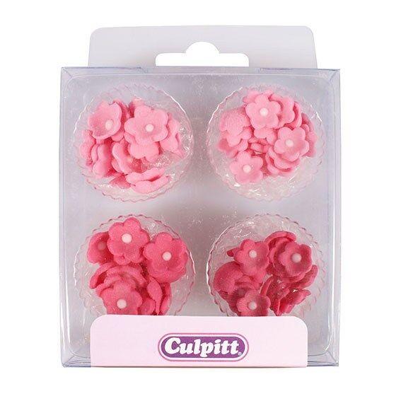 Culpitt 100pk Mini Flowers Pink Edible Cupcake Sugar Pipings