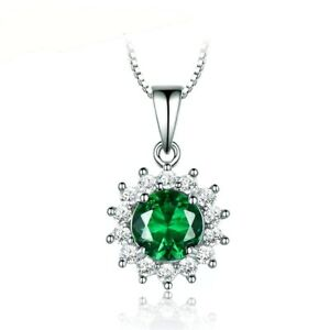 925-Sterling-Silver-Round-Green-Emerald-White-Sapphire-Halo-Pendant-Necklace