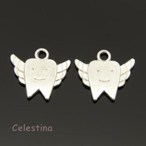 Tooth Fairy Baby Teeth Pendants 18mm x 20mm 10 Antique Silver Tooth Charms