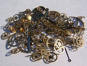 Vintage-antique-Steampunk-Watch-Parts-Pieces-gears-cogs-wheels-150-Lot-10g