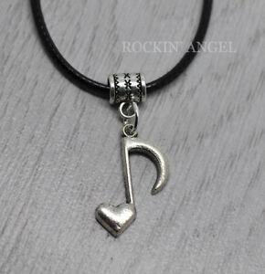 Antique-Silver-plt-Heart-Music-Note-Pendant-Necklace-Ladies-Men-Girls-Gift