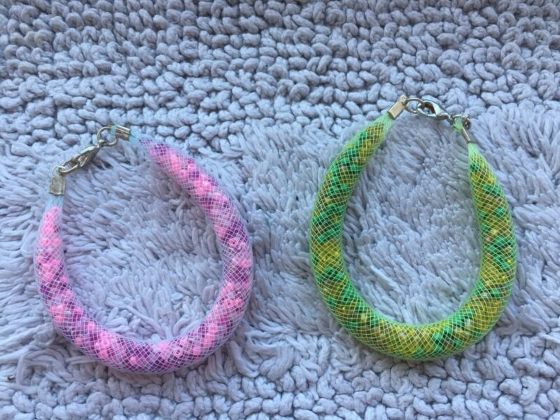 Handmade Pair Of Mesh Bead Bracelets Pink/green