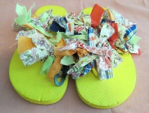 4c9acfdca647a Details about  Flip-Flops/Sandals~Women's/Girls~Fun/Colorful/Crazy/Rag-Tied~Size 9-10
