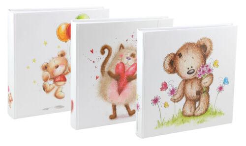 Bär und Katze Fotoalbum 30x30 cm 100 weiße Seiten Baby Kinder Album Fotobuch