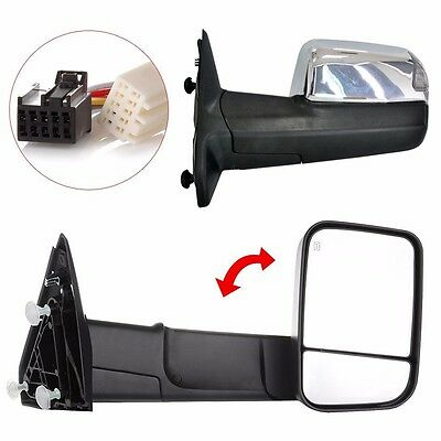 Pair Power Heated Towing Mirrors For Ram 1500 Pickup Signal Lights Side 2009-15