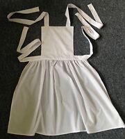 Handmade Ladies White Victorian Edwardian Style Maid Full Apron, size 6-28, new