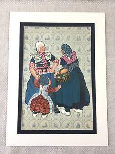 1932-Vintage-Moda-Stampa-Olandese-Bunschoten-Costume-Art-Deco-Cromolitografia