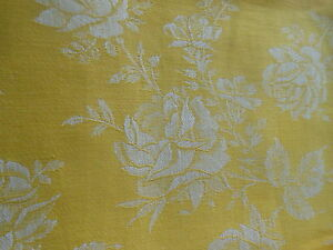 Antique-Vintage-French-Yellow-Roses-Cotton-Damask-Ticking-Fabric