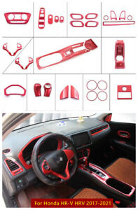 Red ABS Interior Accessories Whole Kit Covers Trim For Honda HR-V HRV 2017-2021