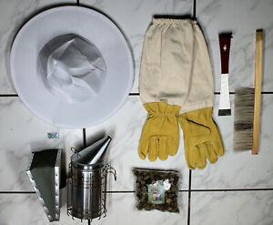 Imker Starter Set weiß 5 Teile Imkerhut Handschuhe L Besen Stockmeißel Smoker