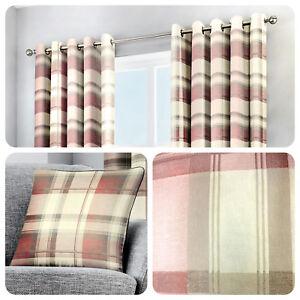 Fusion-BALMORAL-Blush-Pink-Tartan-100-Cotton-Curtains-amp-Cushions