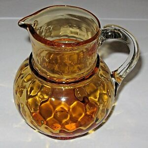 SALE-Antique-Vintage-Amber-Art-Glass-Pitcher-Clear-Handle-4-034-Height-x-3-034-Wide