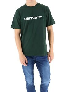 T-shirt-uomo-CARHARTT-WIP-S-S-College-I024772-100-cotone-jersey-Loden