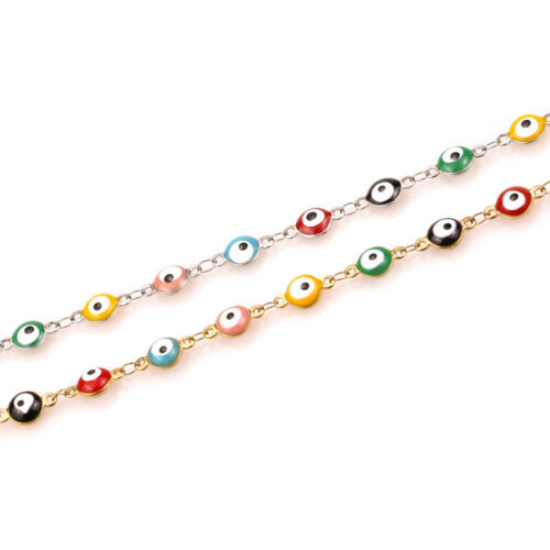 1 Meter 6mm Stainless Steel Handmade Chain Turkish Eye Connectors Chain Findings