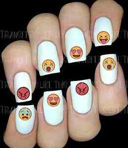 30 Nail Art Decals Stickers Water Transfers Cute Emojis Emoticon Ebay