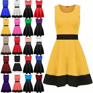 Womens Ladies Sleeveless Contrast Panel Franki Swing Dress Flared Skater Dress