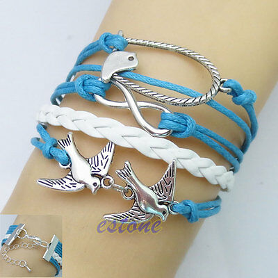 Hot Blue Handmade Infinity Silver Bird Leather Bracelet Wristband Cheap