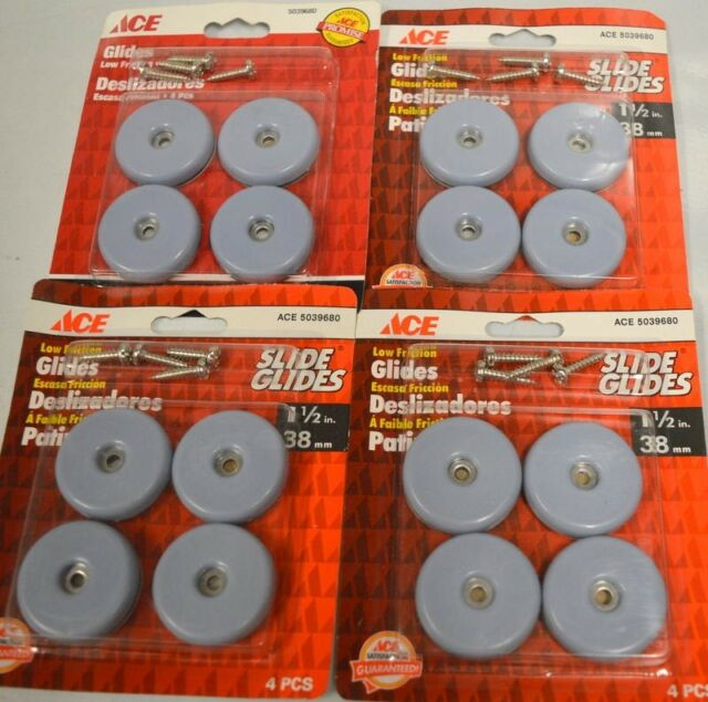 """5 packs Ace Glides #5039664-1/"""" Round Screw On Glides-Low Friction 4 per pk"""
