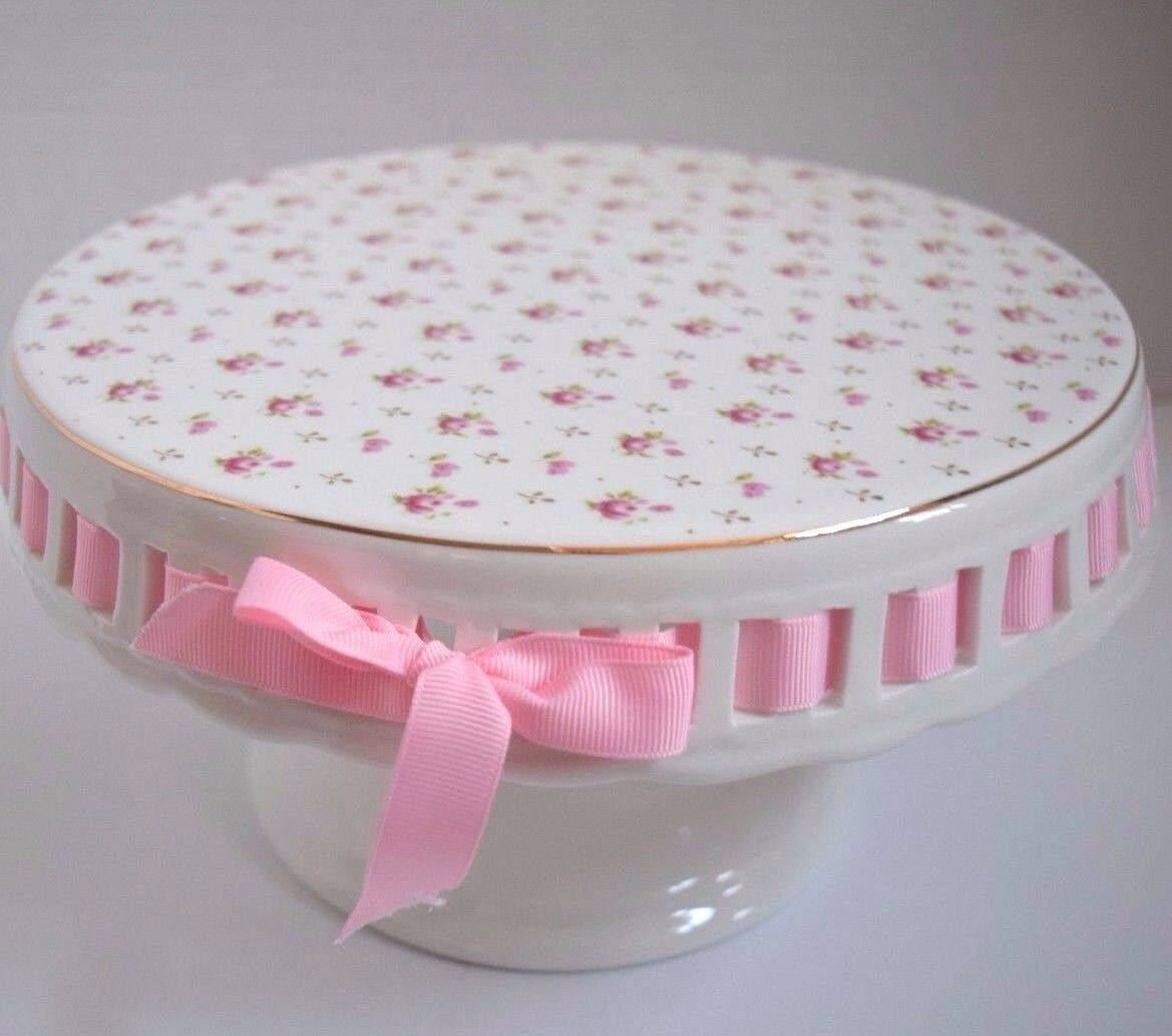 NEW GRACE TEAWARE VICTORIAN PINK pink CAKE CUPCAKE DESSERT STAND TEA TIME EASTER