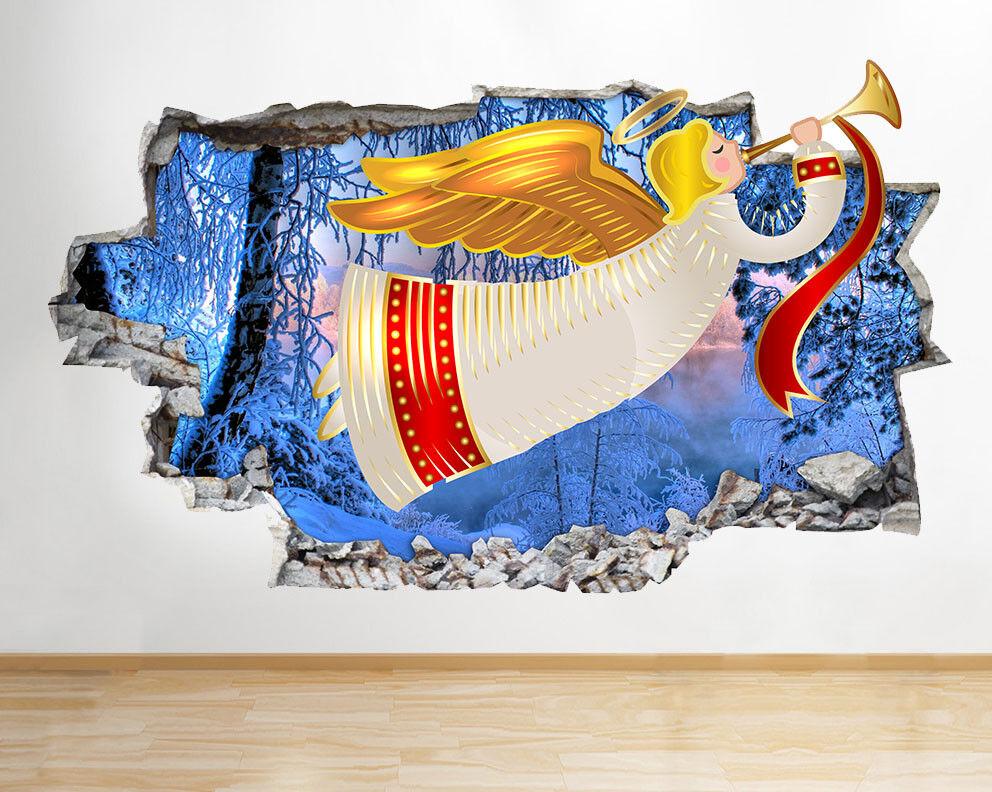 N160 Tromba Tromba Tromba D'Angelo Neve Natale distrutto murali 3D ARTE Adesivi Vinile Stanza 0c2f99