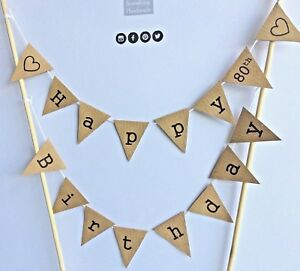 Party-HAPPY-80th-BIRTHDAY-Cake-Bunting-Topper-Rustic-Decoration-Manila