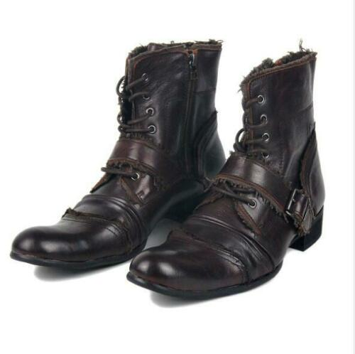 Mens Fashion Real Leather Buckle Strap Lace Up Motorcycle Ankle Boots Shoes 8429