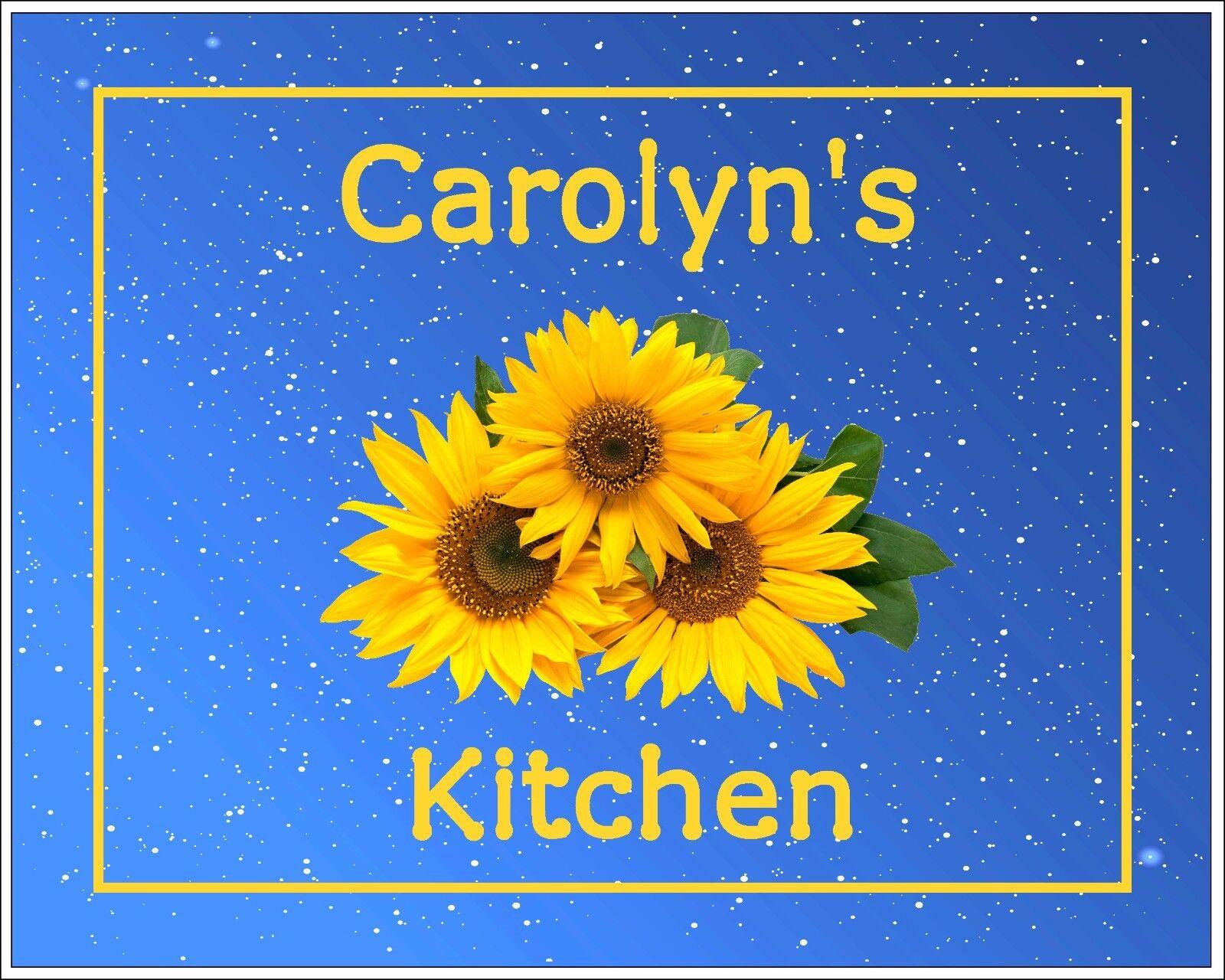 Blue Yellow Photo Art Wall Decor Kitchen Sunflowers Personalized Picture Gift Ebay