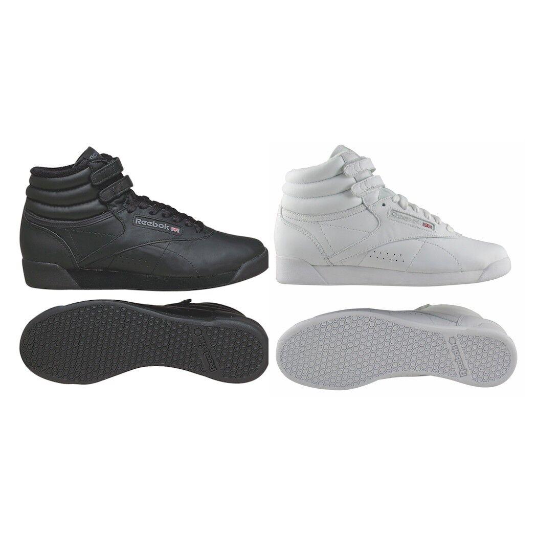 Reebok Freestyle HI Damen Leder Turnschuhe Fitness Schuhe weiß schwarz  | Überlegene Qualität