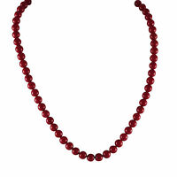 Gold Finish Faux Coral Red Balls Girls Teens Women Strand Necklace