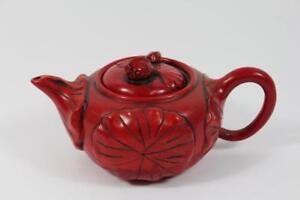 Teekanne-Lack-Rotlack-Blattdekor-Fisch-Koikarpfen-sign-China