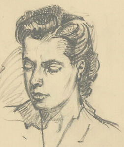 Malcolm-Rogers-Signed-1949-Graphite-Drawing-Portrait-Study-of-a-Lady
