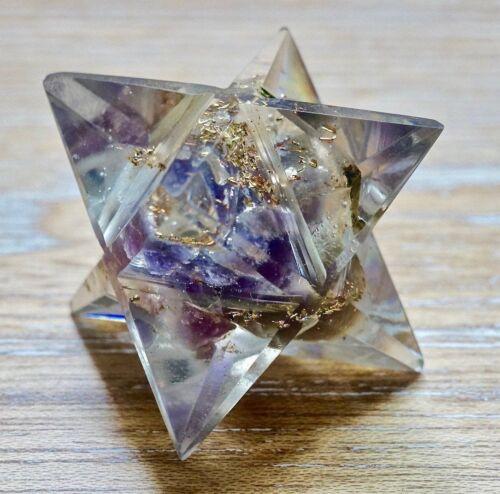 Orgone Merkaba Point Amethyst Stone Healing Natural Resin Reiki Energy Handmade