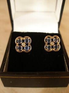 PAIR-OF-9-CARAT-GOLD-DIAMOND-amp-SAPPHIRE-CLUSTER-EARRINGS-MADE-IN-UK-BRAND-NEW