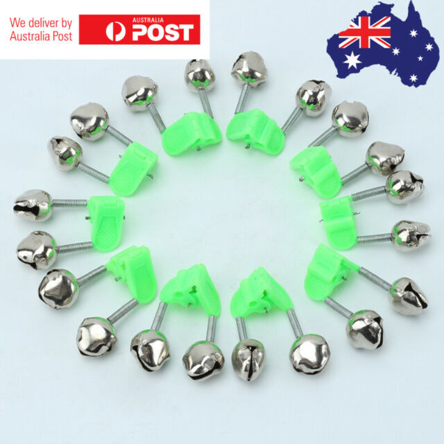 10X Green Plastic Clip Double Rod Bite Alarm Fishing Bells Ring