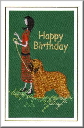 Briard Birthday Card Embroidered by Dogmania FREE PERSONALISATION