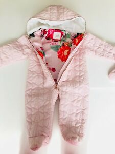722069413 Baby Girls TED BAKER Light Pink Quilted Bow Snowsuit Pramsuit Age 6 ...
