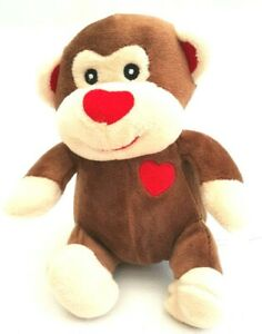 Brown-Monkey-Soft-Plush-Stuffed-Animal-Toy-Talking-Press-Button-On-Tummy-14cm