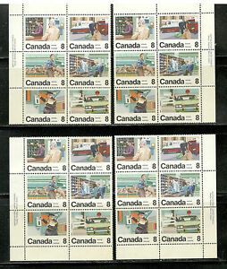 634-39-4-Inscrip-Blocks-of-6-FOLDED-MNH-1974-Letter-Carrier-Service