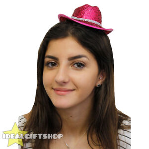 Image Is Loading PINK MINI SPARKLY COWBOY COWGIRL HAT FANCY DRESS