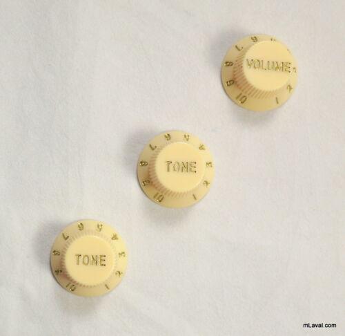 set of 3 Stratocaster style Tone /& Volume Guitar Control knobs Cream C37