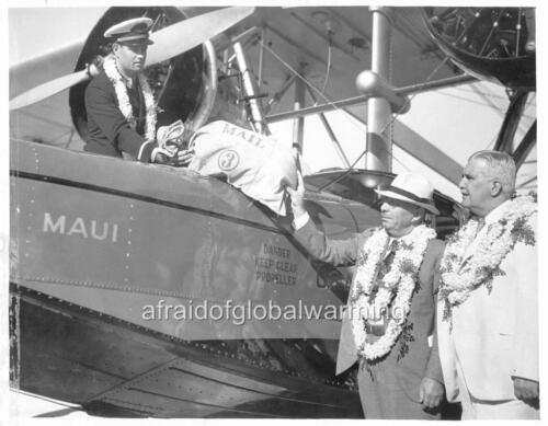 Photo 1934 Poindexter Governor Hawaii 1st Sack Air Mail