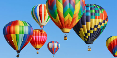 Tempered Glass Photo Print Wall Art Picture Colorful Balloons Sky Prizma GWA0326