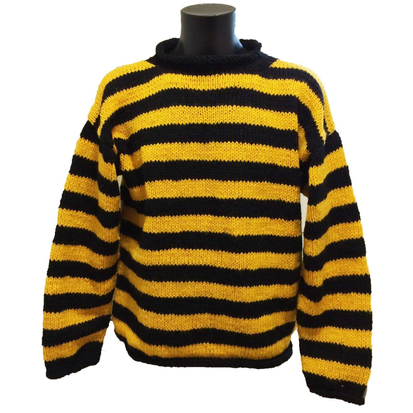Classic HAND Knitted  Nero Giallo Ape a righe  LANA Maglione-Qualità Lavorato a Maglia