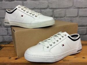TOMMY-HILFIGER-MENS-UK-6-5-EU-40-WHITE-CORE-CORPORATE-PERFORATED-TRAINERS-EP