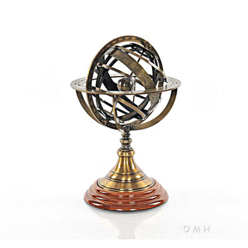 Brass Armillary Sphere Globe 11.5 Hardwood Base Antiqued Finish Table Top New
