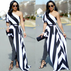 ae56d25bc62 Women One Shoulder Black White Striped Long Tailed Casual Club Party ...